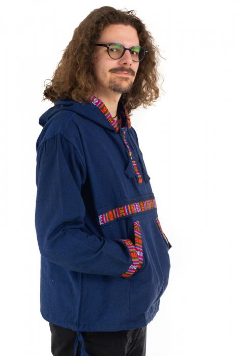 Hanorac ethnic din bumbac subtire - Blue [2]