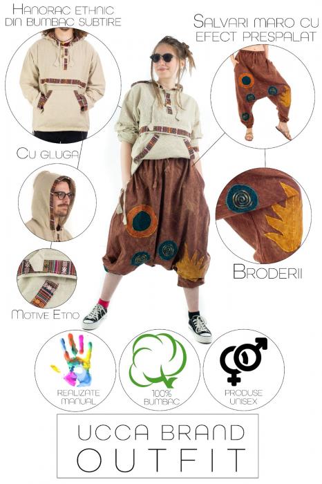 Hanorac ethnic din bumbac subtire - Crem [2]