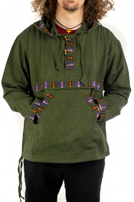 Hanorac ethnic din bumbac subtire - Green [0]