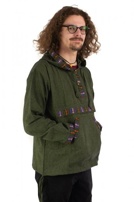 Hanorac ethnic din bumbac subtire - Green [2]
