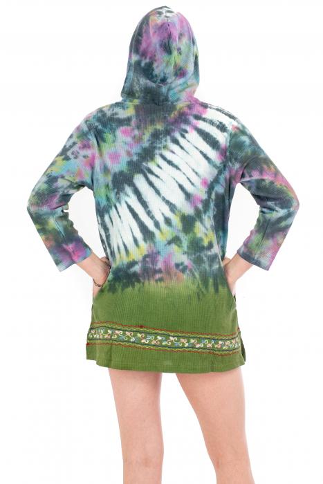 Hanorac lejer verde - Tie-Dye [3]