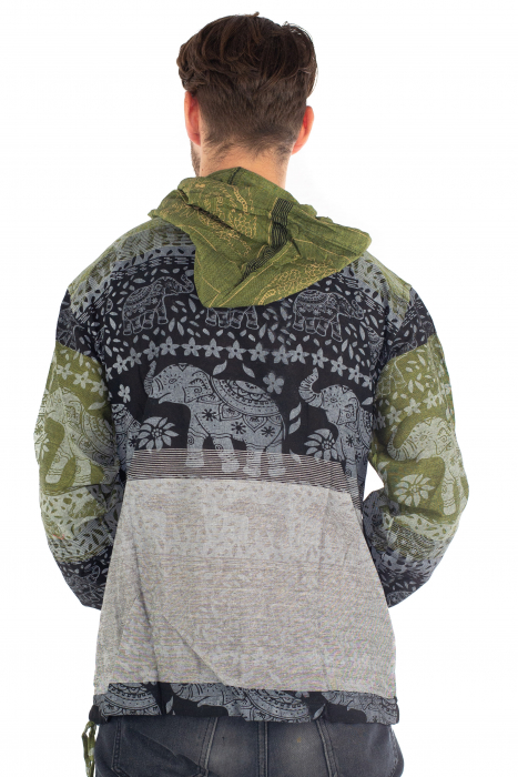 Hanorac lejer - Namaste Elephant - Verde&negru [4]