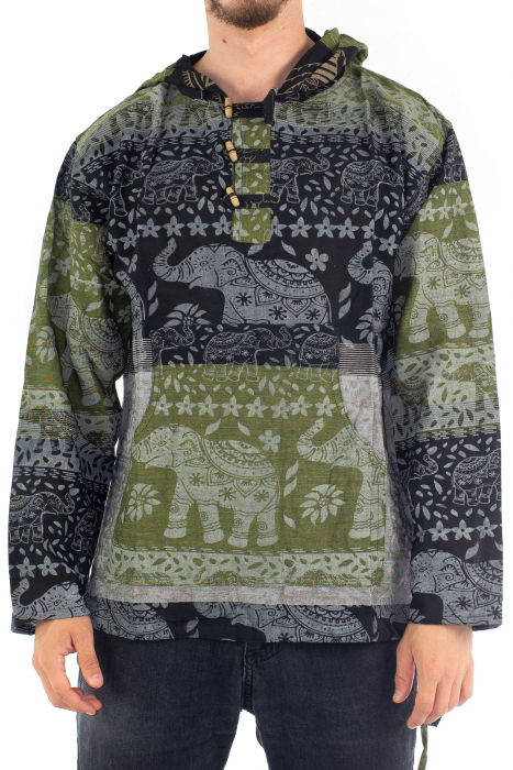 Hanorac lejer - Namaste Elephant - Verde&negru [0]