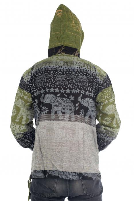 Hanorac lejer - Namaste Elephant - Verde&negru [5]