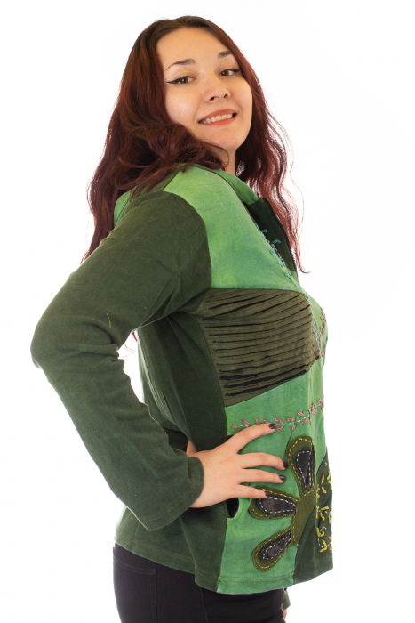 Hanorac verde razor cut - Flower 1