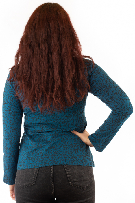 Bluza maneca lunga turcoaz cu mandale 2