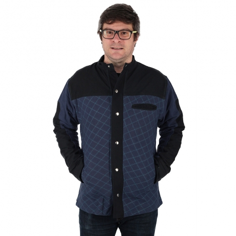Jacheta barbateasca din bumbac, albastru - Geometric MIC DEFECT 0