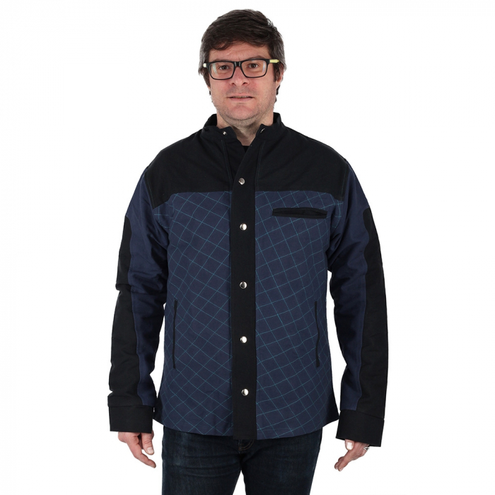 Jacheta barbateasca din bumbac, albastru - Geometric MIC DEFECT 1