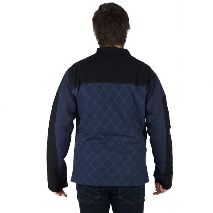 Jacheta barbateasca din bumbac, albastru - Geometric MIC DEFECT 4