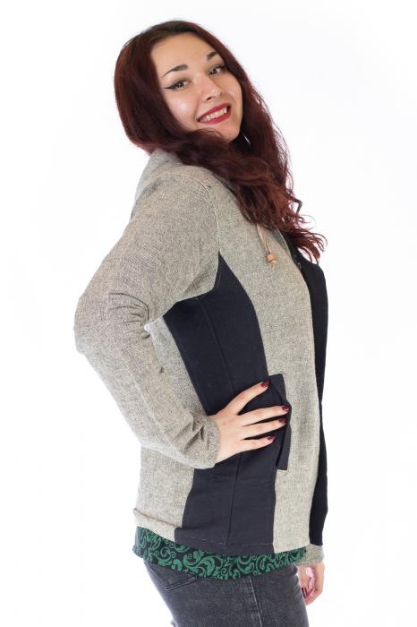 Jacheta din bumbac - Gri Negru 1