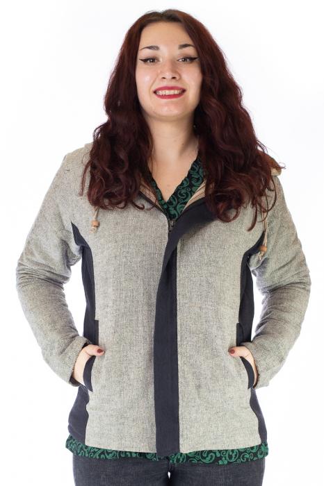 Jacheta din bumbac - Gri Negru 0