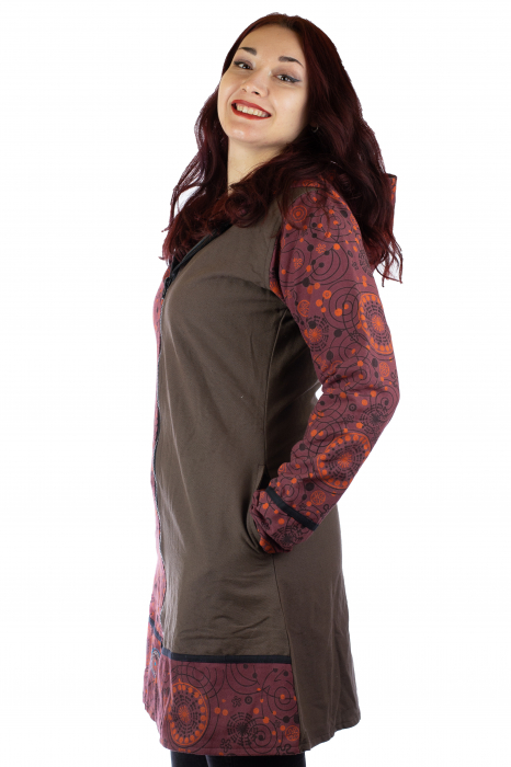 Jacheta de bumbac cu fermoar, print abstract – BORDO&MARO [1]