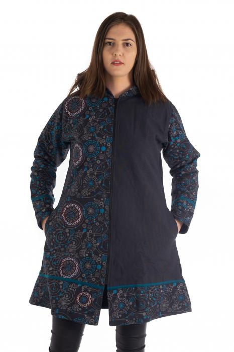 Jacheta de bumbac cu fermoar, print abstract – Negru si Albastru 1