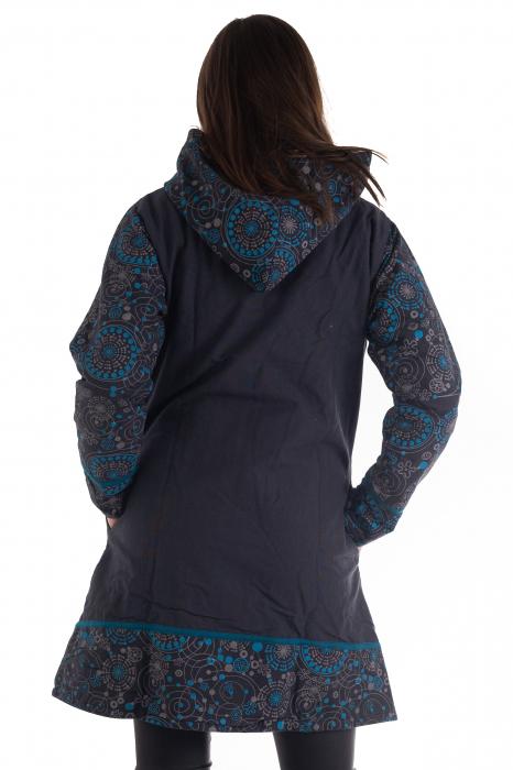 Jacheta de bumbac cu fermoar, print abstract – Negru si Albastru 3