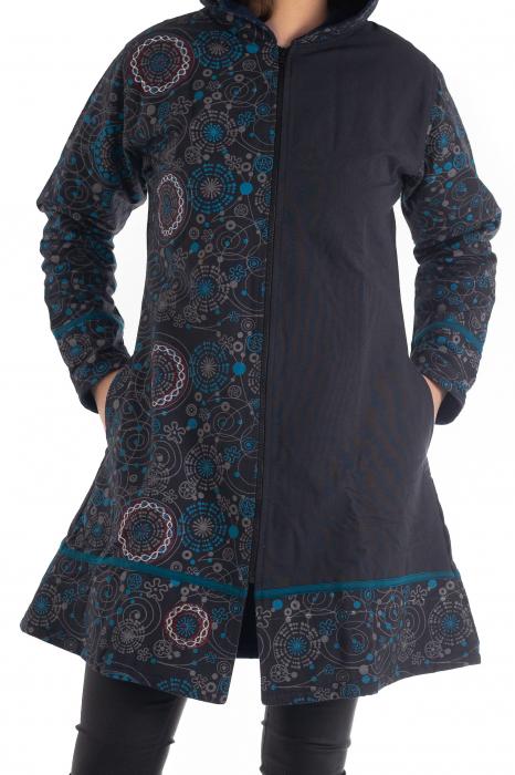 Jacheta de bumbac cu fermoar, print abstract – Negru si Albastru 0