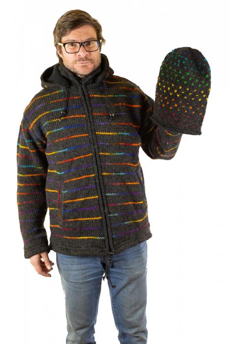 Jacheta de lana - Rainbow Lines 9