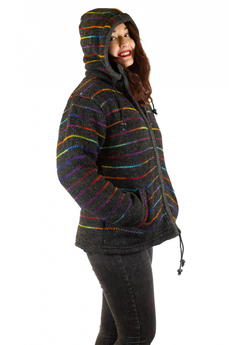 Jacheta de lana - Rainbow Lines 4
