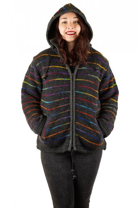 Jacheta de lana - Rainbow Lines 3