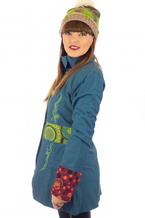Jacheta de toamna cu broderie - Albastru [3]