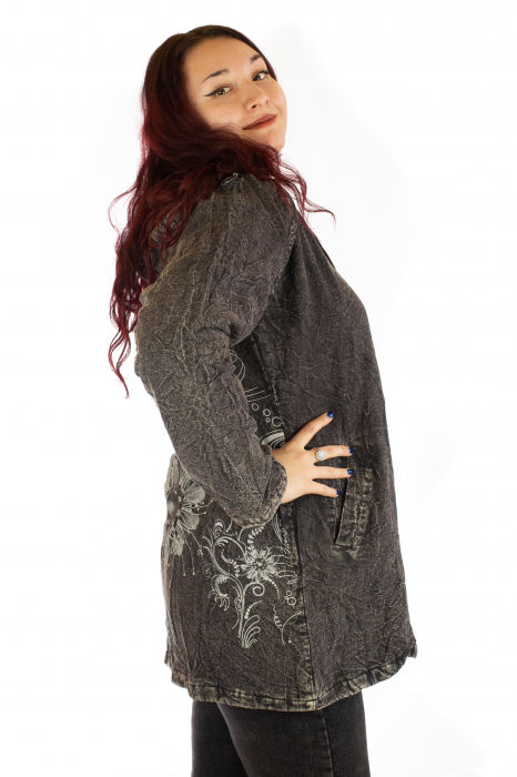 Jacheta de toamna cu print floral - Gri 1