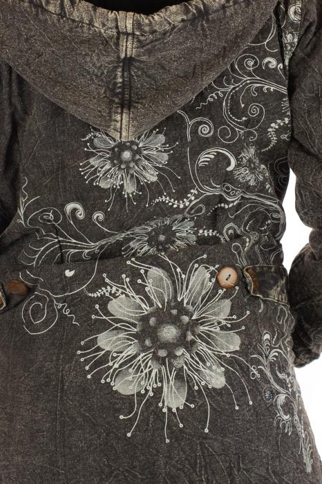 Jacheta de toamna cu print floral - Gri 4
