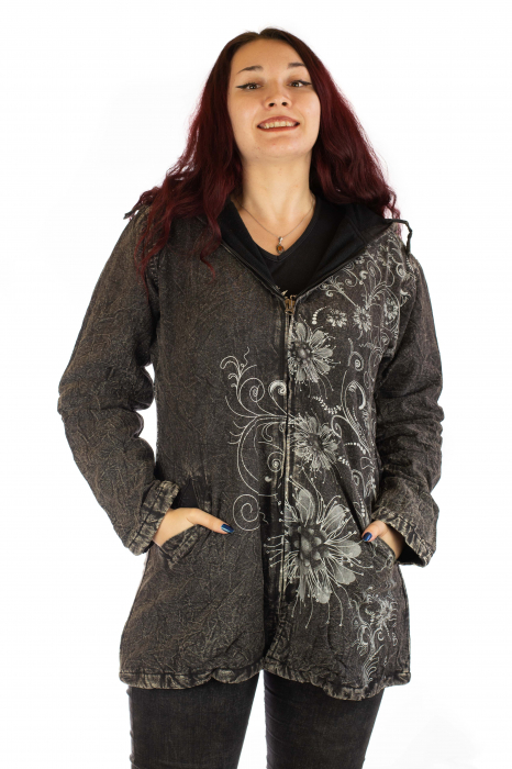 Jacheta de toamna cu print floral - Gri 0
