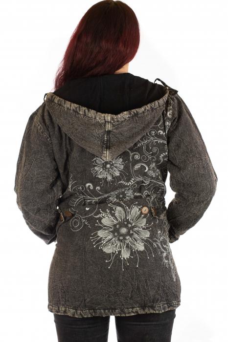 Jacheta de toamna cu print floral - Gri 2
