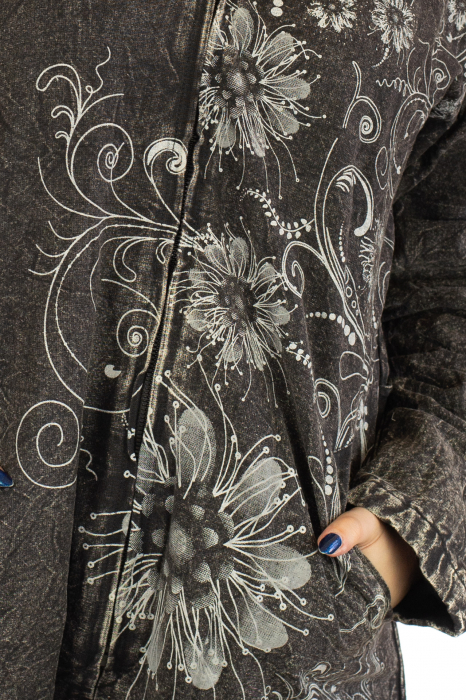 Jacheta de toamna cu print floral - Gri 3