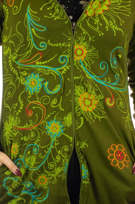 Jacheta de toamna cu print floral - Verde inchis 2