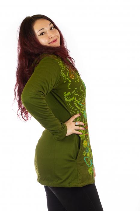 Jacheta de toamna cu print floral - Verde inchis 3