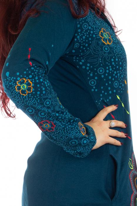 Jacheta de toamna cu print floral - Albastra 5