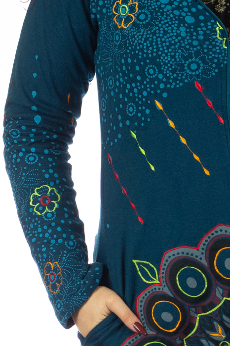 Jacheta de toamna cu print floral - Albastra 3