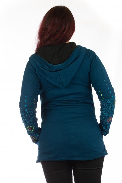 Jacheta de toamna cu print floral - Albastra 6