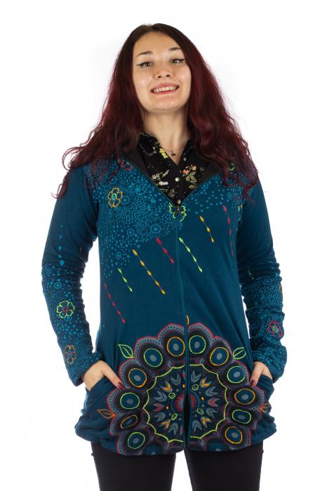 Jacheta de toamna cu print floral - Albastra 0