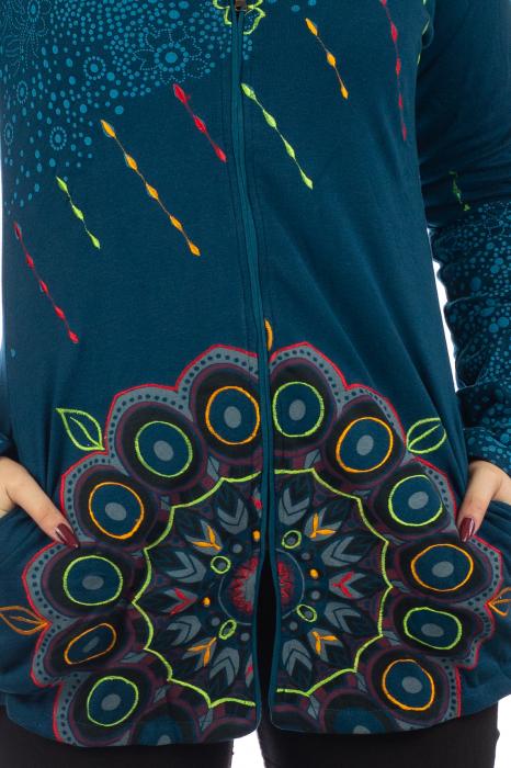 Jacheta de toamna cu print floral - Albastra 2