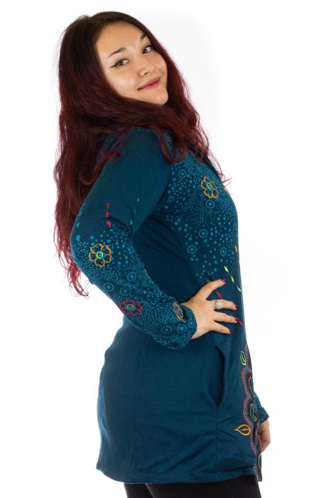 Jacheta de toamna cu print floral - Albastra 4