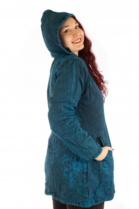 Jacheta de toamna cu print floral - Turcoaz 4
