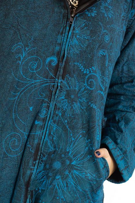 Jacheta de toamna cu print floral - Turcoaz 5