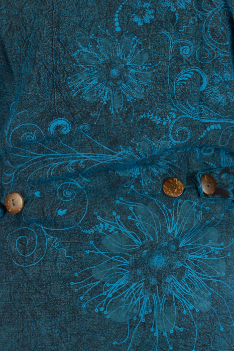 Jacheta de toamna cu print floral - Turcoaz 6