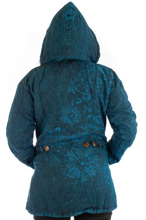 Jacheta de toamna cu print floral - Turcoaz 3