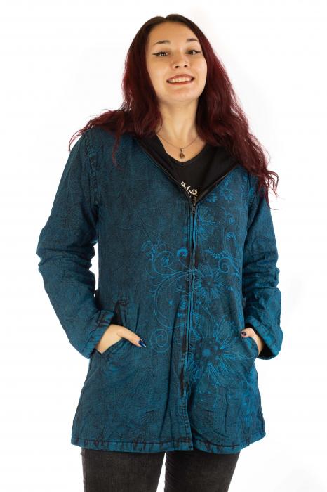 Jacheta de toamna cu print floral - Turcoaz 0