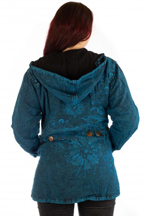Jacheta de toamna cu print floral - Turcoaz 2