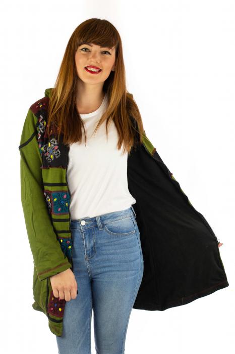 Jacheta de toamna cu print manual - Verde [2]