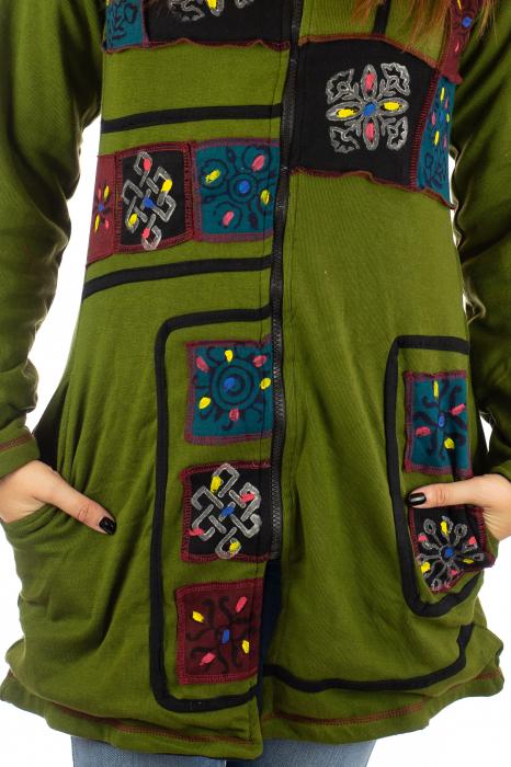 Jacheta de toamna cu print manual - Verde [6]
