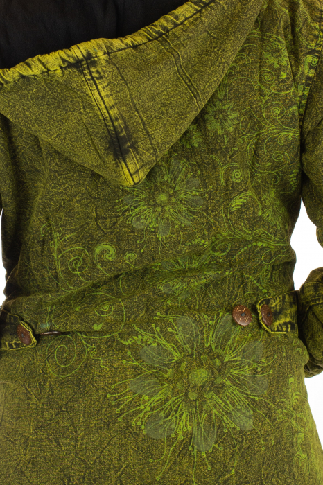 Jacheta de toamna cu print floral - Verde 3