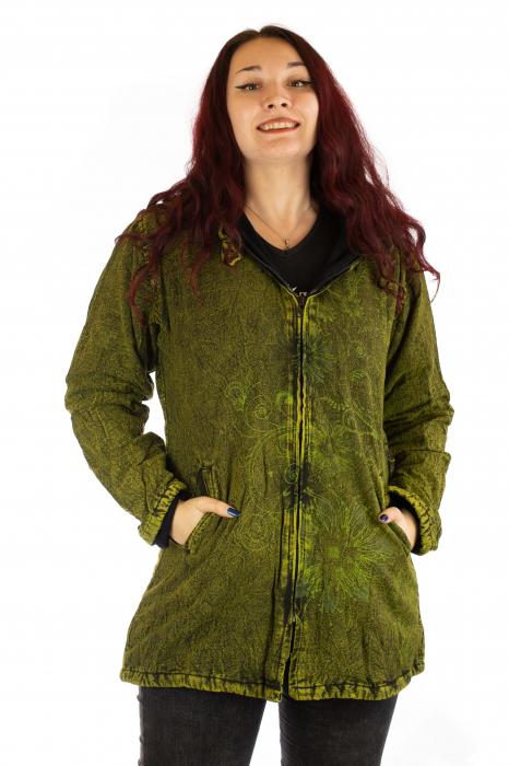 Jacheta de toamna cu print floral - Verde 0