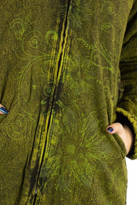 Jacheta de toamna cu print floral - Verde 2