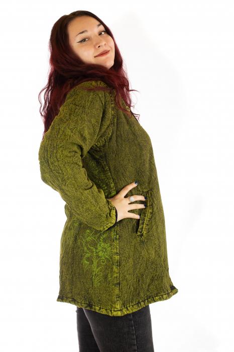 Jacheta de toamna cu print floral - Verde 1