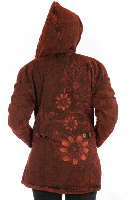 Jacheta de toamna cu print floral - Rosu 4