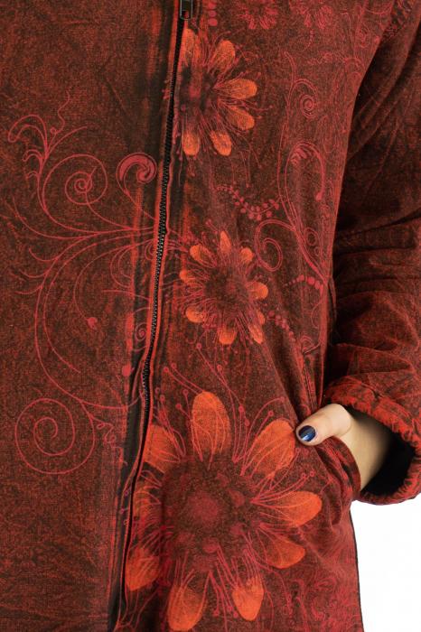 Jacheta de toamna cu print floral - Rosu 5